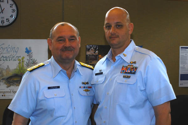 Commandant of the Coast Guard, Admrial Thad Allen and BMC Rick Ball, Officer in Charge USCG Station Chincoteague